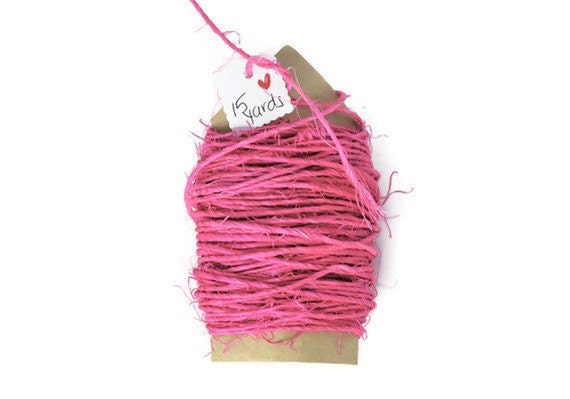 Fuchsia sisal cord . 15 yards of pink colored thin rough twine . rope . string . natural . 1mm . supplies . other colors available