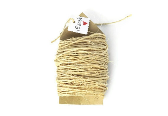 Natural rough sisal cord .15 yards . ivory . string . rope. trim . natural fibers . rustic . gift wrap . other colors available