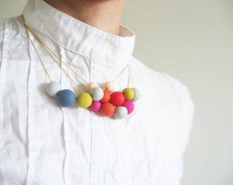"Colorful spring necklace - beads necklace- minimalist dainty jewelry "" Round and round"""