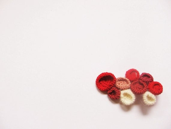 "Happy red  brooch-red beige burgundy color-circles form ""BuBBles"""