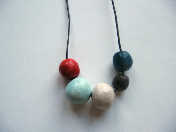 "Round geometric beads necklace- handmade beads- colorful necklace ""Naturalis"" B2"