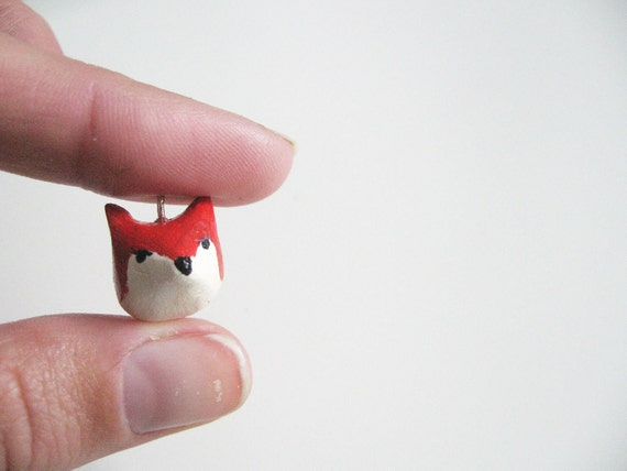 Red fox necklace - miniature totem-  woodland animal - small fox clay