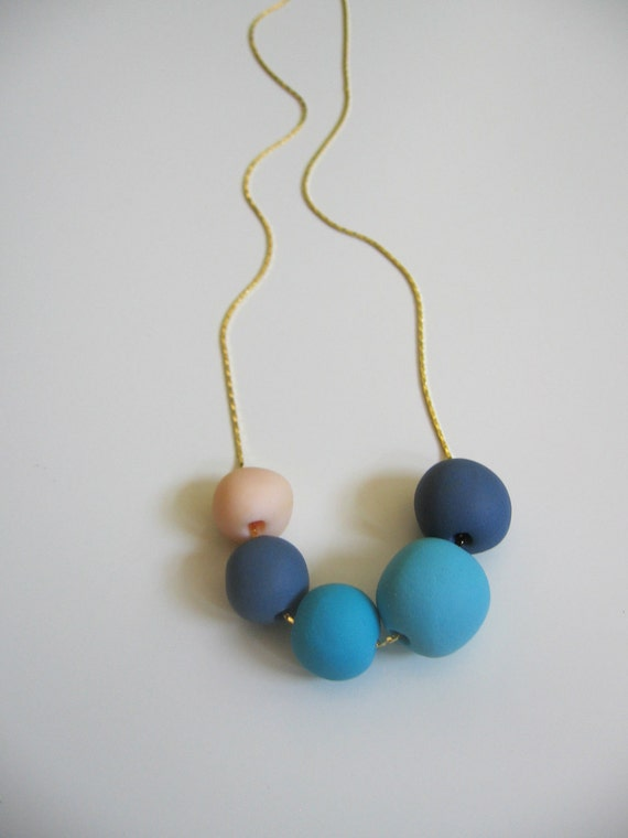 """Navy blue polymer clay necklace -  geometric nautical round beads - blue shades  """" Round and round"""""""