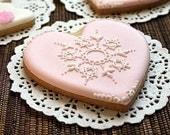 Heart Cookies-Pink Cookies-Edible Vintage Lace Cookies-Gift for Bridesmaids-Custom Wedding Favors-Pink Wedding