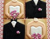 Wedding Cookies - Edible Wedding Favors - Custom Wedding Cookies - Bridal Shower Favors - Bridesmaid Gifts