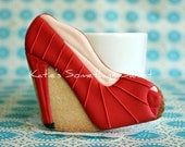Shoe Cookies-Fashion Cookies-Red-Bridesmaid Gift-Party Favor Birthday-Wedding Party Favors-Bridal Shower Tea Party