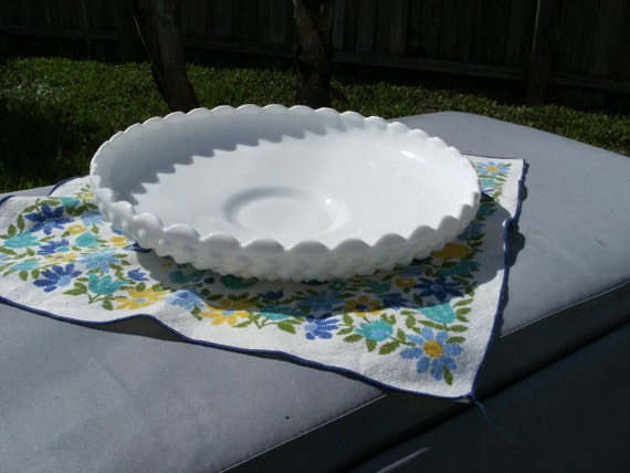 Vintage Hobnail Fenton Milk Glass Platter-