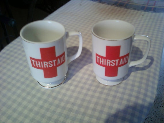 Vintage Thirst Aid Coffee Cups