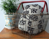 Large Vintage Wire Shopping Basket with Red Handles