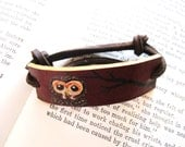 Owl and Branch Painted Leather Bracelet