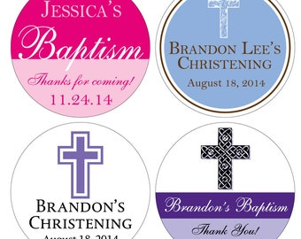 120 Custom Glossy Baptism / Christening / Communion Stickers Label 1.5 inch -many designs to choose -change design to any color, wording etc