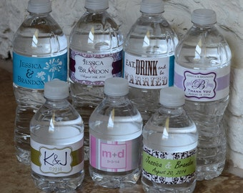175 Custom Glossy Waterproof Wedding Water Bottle Labels - hundreds of designs to choose from - change designs to any color, wording, etc