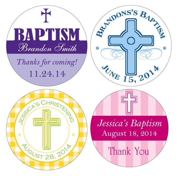 100 Custom Glossy Baptism / Christening / Communion Stickers Labels 2 inch -many designs to choose -change design to any color, wording etc