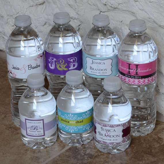 100 Custom Glossy Waterproof Wedding Water Bottle Labels - hundreds of designs to choose from - change designs to any color or wording