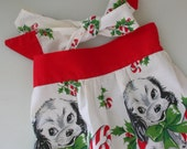 Vintage Child's Christmas Apron-Stockings Puppies Mothers Helper -Treasury Item from The Back part of the Basement