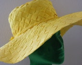 Yellow Sun Hat- Floppy Brim- Woven Fabric OOAK Treasury Item from The Back part of the Basement