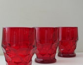 Ruby Red Georgian Tumblers Set of 3- Ruby Glass 9 oz. Treasury Item from The Back Part of the Basement