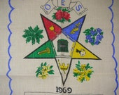 1969 Masonic Linen Calendar 1969 OES Eastern Star FATAL Collectible RARE from The Back Part of the Basement