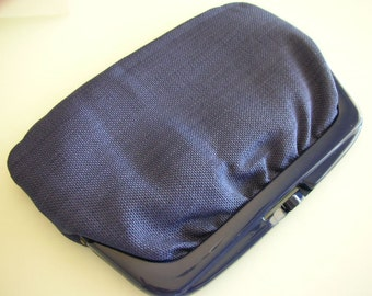 Navy Blue Linen Hand Clutch  Dark Blue handbag Purse from The Back Part of the Basement