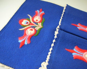 Crewel Embroidered Wall Hanging-Hanging Panel with Pockets OOAK-Cobalt Blue Felt from The Back Part of the Basement