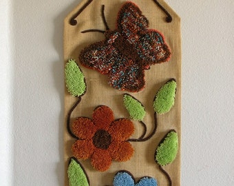 Rug Hook Wall Hanging-Mod Flowers and Butterfly 4 FEET Long Hook wall art Retro Flowers Butterfly Shag from The Back part of the Basement