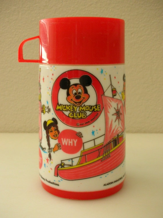 Mickey Mouse Club Lunch Box Thermos Vintage Walt Disney Thermos from The Back part of the Basement