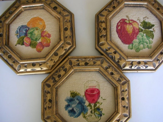 Reserved CHOB Gold Carved Wood Frames with Needlepoint Set of 3 Food Theme Embroidery Kitchen Art  from The Back Part of the Basement