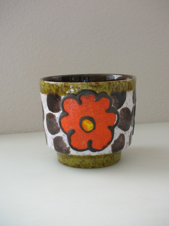 Mid Century West Germany Lava Plant Pot-Fat Lava from The Back part of the Basement