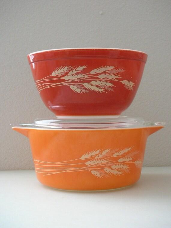 Pyrex Casserole and Mixing Bowl Set Harvest Orange Milk Glass 3 pc Set Orange Burnt Orange Rust Bowl 403 and 474B 1.5 L Ovenware Bakeware
