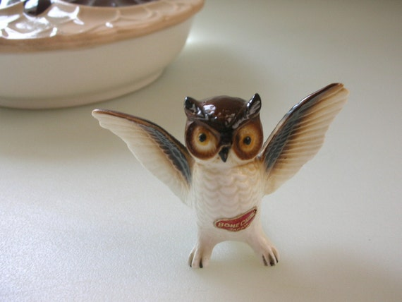 Bone China Owl Figurine-Wing Span Miniature Owl Made in Japan Treasury Item from The Back Part of the Basement