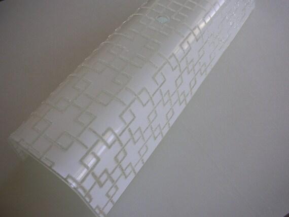 Mid Century Bathroom Light Fixture Geometric Textured Glass