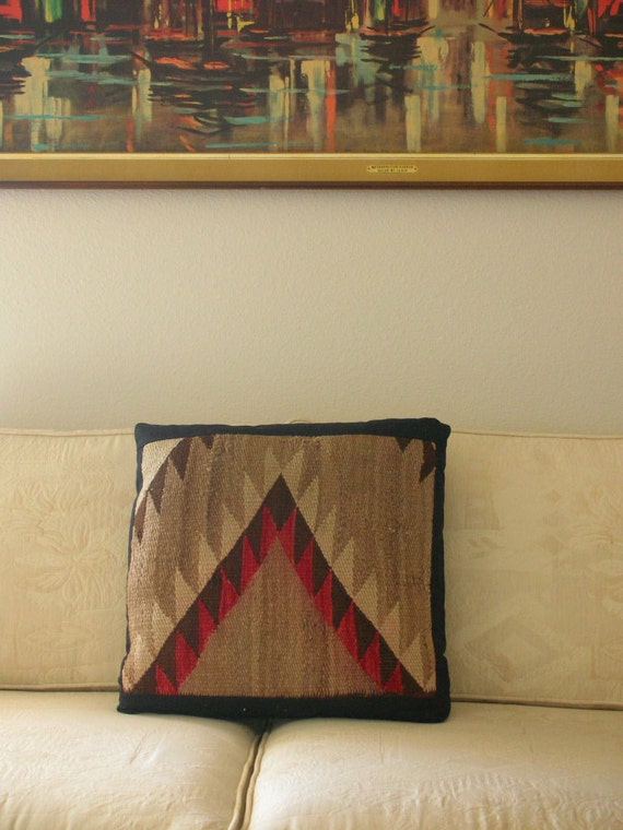 Genuine Navajo Rug Pillow Early 1900's  RARE from The Back part of the Basement