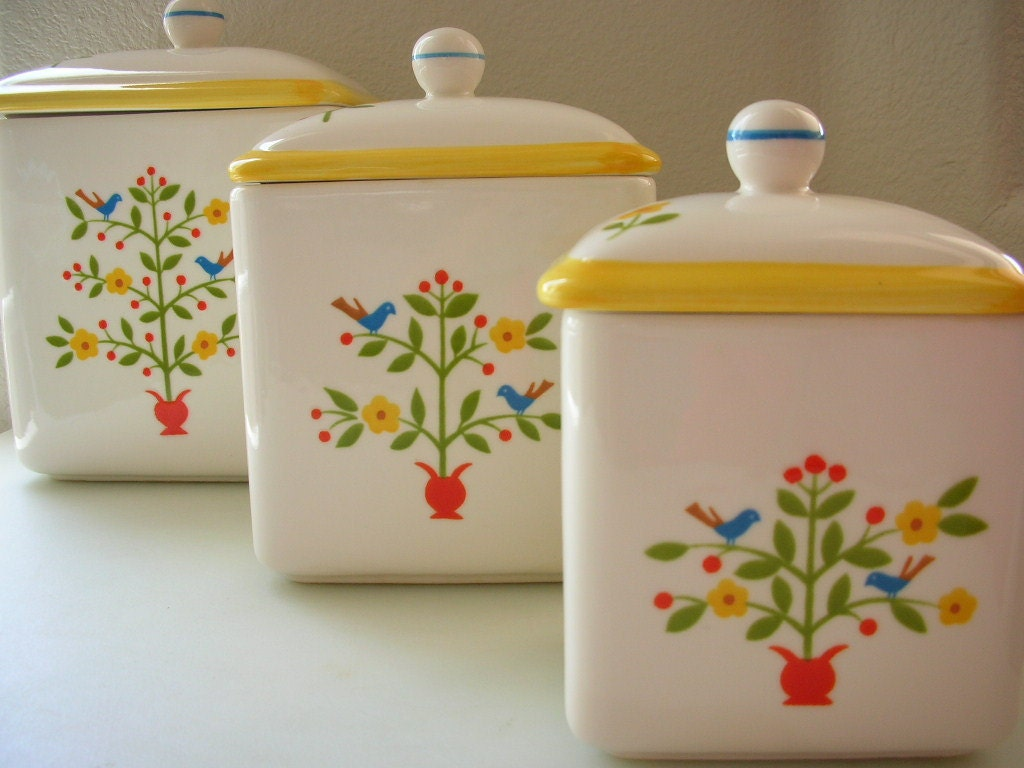 Tree Of Life Ceramic Canister Set With By Thebackofthebasement