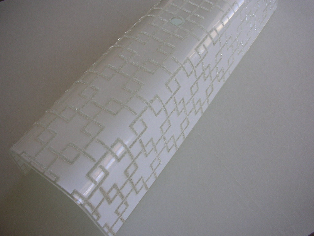 mid century bathroom light fixture geometric textured glass