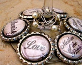 6 Wine Charms for Weddings,Parties,Graduation,Celebrations,Place cards, Customizable