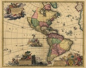 """1700's Map of North South AMERICA, Historic Print, quality, Amazing ART 16""""x13"""""""
