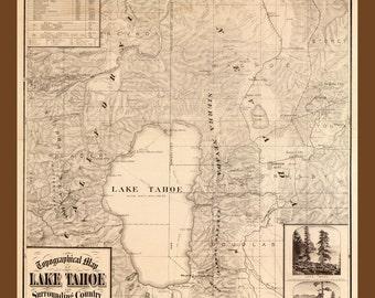 1874 Map of Lake Tahoe California, Nevada , Giclee Print, National Park, Beautiful (many sizes)