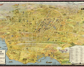 1932 MAP of Los Angeles CALIFORNIA, Nice Framing size, America History, Pacific