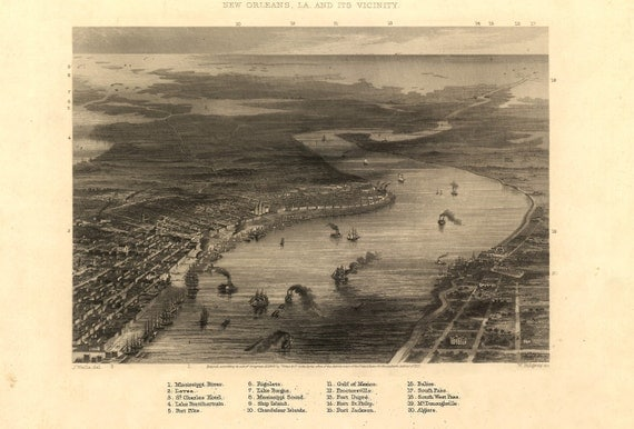 """1863 View of NEW ORLEANS Louisiana Giclee Print, 18""""x12"""" - America History:-)"""