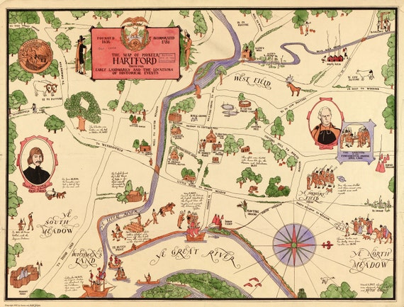 """1927 Hartford Connecticut Map Landmarks History of Area, High Quality Giclee Reproduction MAP 16.5x12.5"""""""