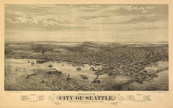 1878 SEATTLE HIstoric City View, WASHINGTON, High Quality Gilcee Print