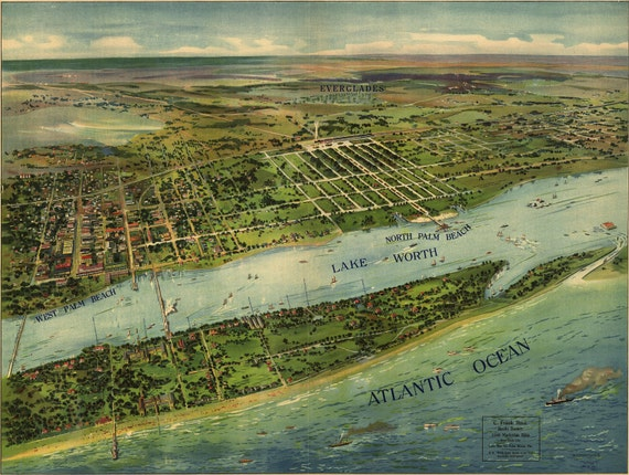 """1915 Panoramic view West Palm Beach Florida, Map, Historic Giclee Print, Nice Detail, 18.5""""x12.5"""""""