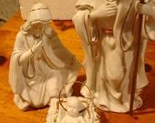 Vintage Nativity Set White Ceramic with Gold Trim Excellent