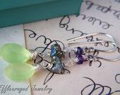Sale 45% off cc 1YEAR Amethyst Pyrite & Chalcedony Gemstone Earrings. Semi Precious Stone Sterling Silver Dangle Earrings by Effleuraged