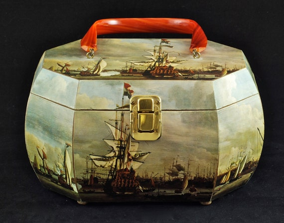 Vintage Nautical Decoupage Wooden Purse