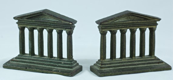 Vintage Cast Metal Neoclassical Greek Temple Facade Bookends