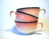 Hazel Atlas Pink and Black Flamingo Trio of Cups