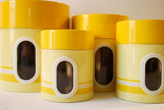yellow kitchen canister set made in japan by vintagecleveland
