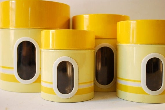 Yellow kitchen canister set made in japan for Kitchen set yellow