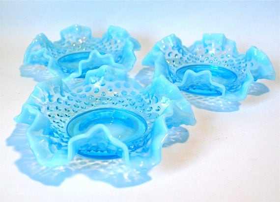 Blue Opalescent Hobnail Bon Bon Dish Set of 3
